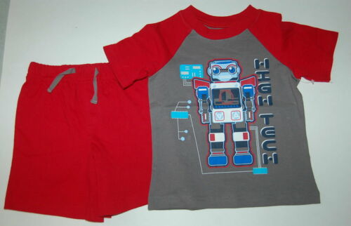 Toddler Boy Shorts Set ROBOT HIGH TECH Red Gray 12 Mo 18 Mo 24 Mo 3T 4T KNIT