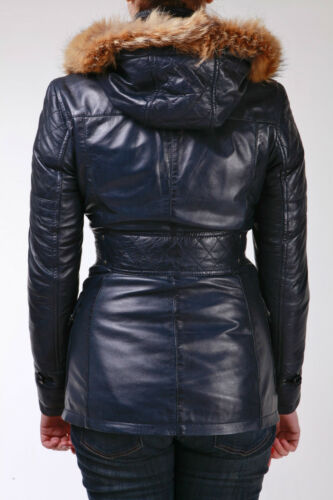 Duffle Ladies Coat Leather Nappa Jacket Navy Hooded Real Retro Fur Lambskin qWnWRUw7B