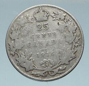 1916 CANADA UK King George V VINTAGE Antique RARE SILVER 25 CENTS Coin i85173