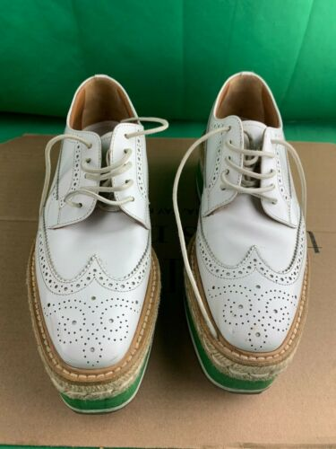PRADA Women's Size 36 Wingtip Leather Platform Bro