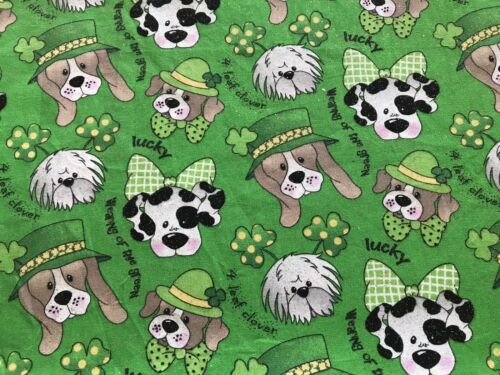 Green FQ Fat Quarter Fabric Dogs Irish ☘️ 100/% Cotton Quilting