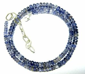 """106 CT Natural Iolite Gemstone Rondelle Faceted Beads 19.5"""" NECKLACE 4-7MM S11"""