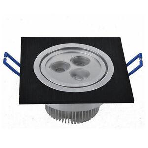 2x 3w led spot encastrable carr eclairage plafond chambre ampoule 220v noir ebay. Black Bedroom Furniture Sets. Home Design Ideas