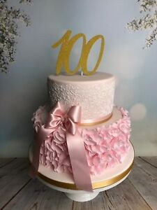Image Is Loading 100th Birthday Cake Topper Anniversary Glitter Gold Any