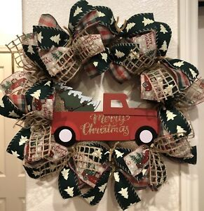 BURLAP-RED-TRUCK-CHRISTMAS-WREATH-Handmade-Deco-Mesh-RUSTIC-FARMHOUSE-Cute