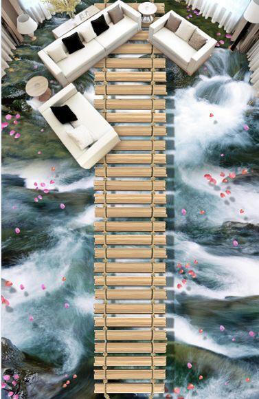 3D Wasser Stein Holz 062 Fototapeten Wandbild Fototapete Bild Tapete Familie