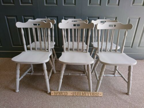 Refurbished Painted spindle Back Country Style Kitchen Dining Chairs Paris Grey