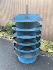 Vintage Blue Rotating Parts Bin Industrial Garage Storage 6 Shelves Steel Metal