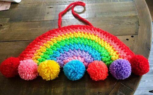 Ventana de arco iris de ganchillo//Colgante De Pared