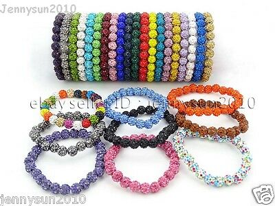 8mm Czech Crystal Rhinestones Pave Clay Round Disco Beads Stretchy Bracelet