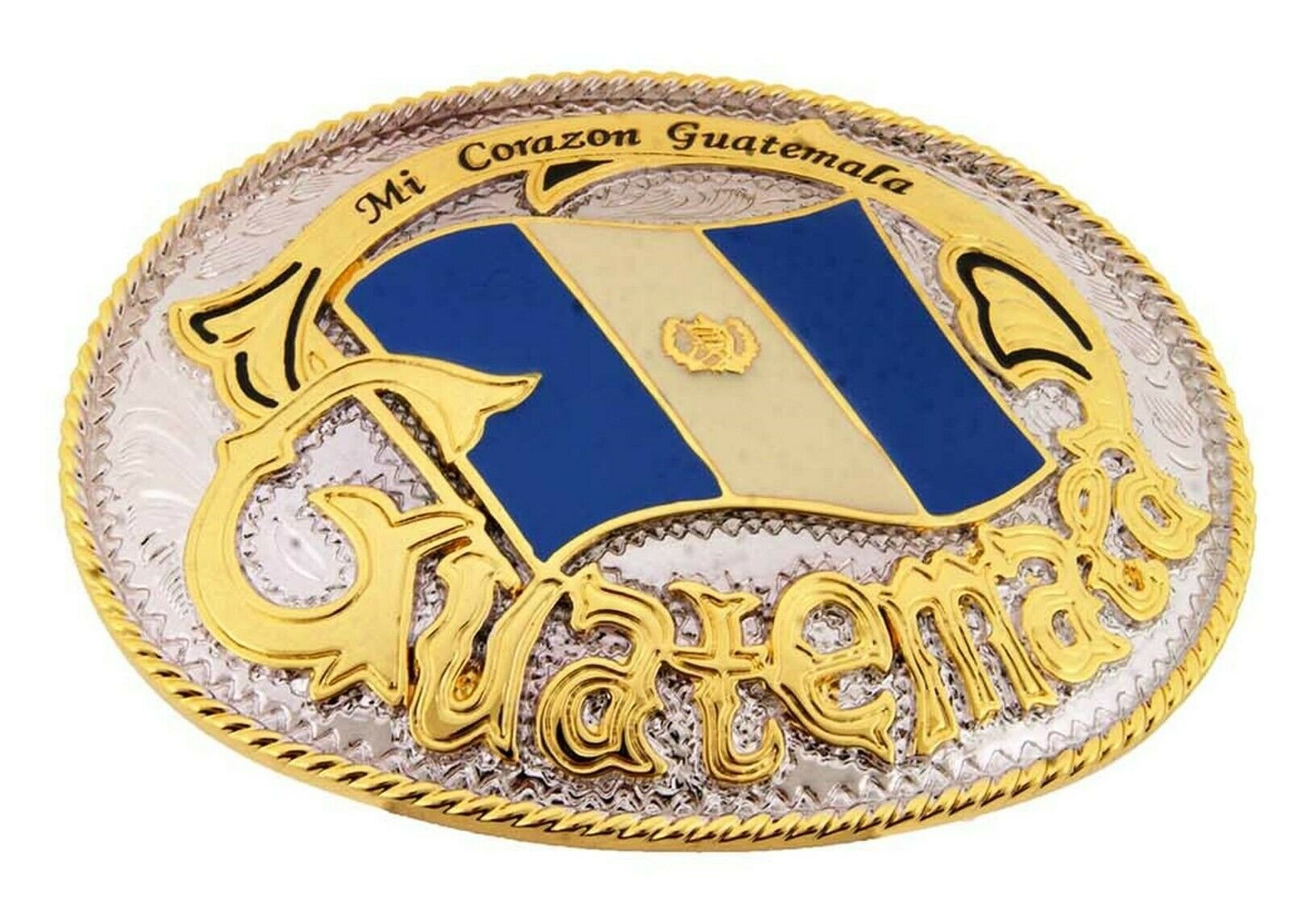 Guatemala Gürtelschnalle Groß Neu Flagge Country Wunderland Chapines Guatamalan