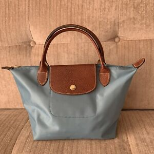 fd8f7f9236af Free Post Longchamp Le Pliage SMALL ARCTIC BLUE Nylon Short Leather ...