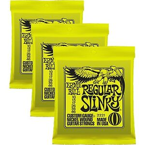 3-SETS-ERNIE-BALL-REGULAR-SLINKY-GUITAR-STRINGS-10-46