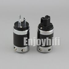 Carbon Fiber Rhodium Plated AU Power Plug Australia Power Connector+IEC Plug
