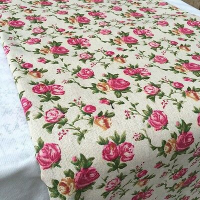 Rose Flower Floral Cotton Linen Fabric Vintage Retro Quilting Pillow Cushion