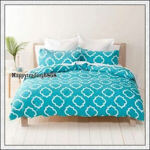 White-Turquoise-Blue-Stylish-Soft-Feel-QUEEN-DOUBLE-SINGLE-QUILT-DOONA-COVER-SET