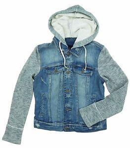 Denim-Jackets-Black-Rivet-Women-039-s-junior-Button-Closure-Hooded