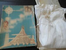 Vintage 2 Pc Baptismal Christening Gown Hand Embroidered Bobbin Lace w/ Box