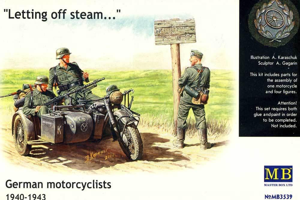 Masterlåda 4 Soldater med Motorcycle BMW R75 East Front Break 1 3 5 modellllerlerl Kit