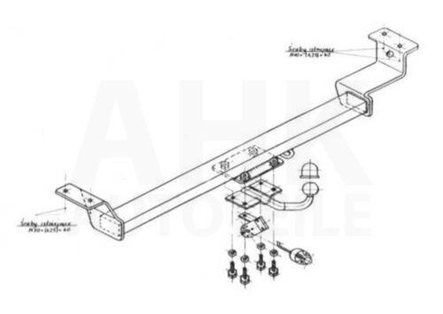 Kpl AHK Für Toyota Yaris I P1 3//5-Tür 99-05 Anhängerkupplung starr+ES 7p uni
