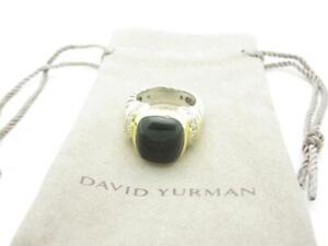 David-Yurman-Sterling-Silver-amp-Gold-Diamond-Black-Onyx-Cable-Ring-Size-6