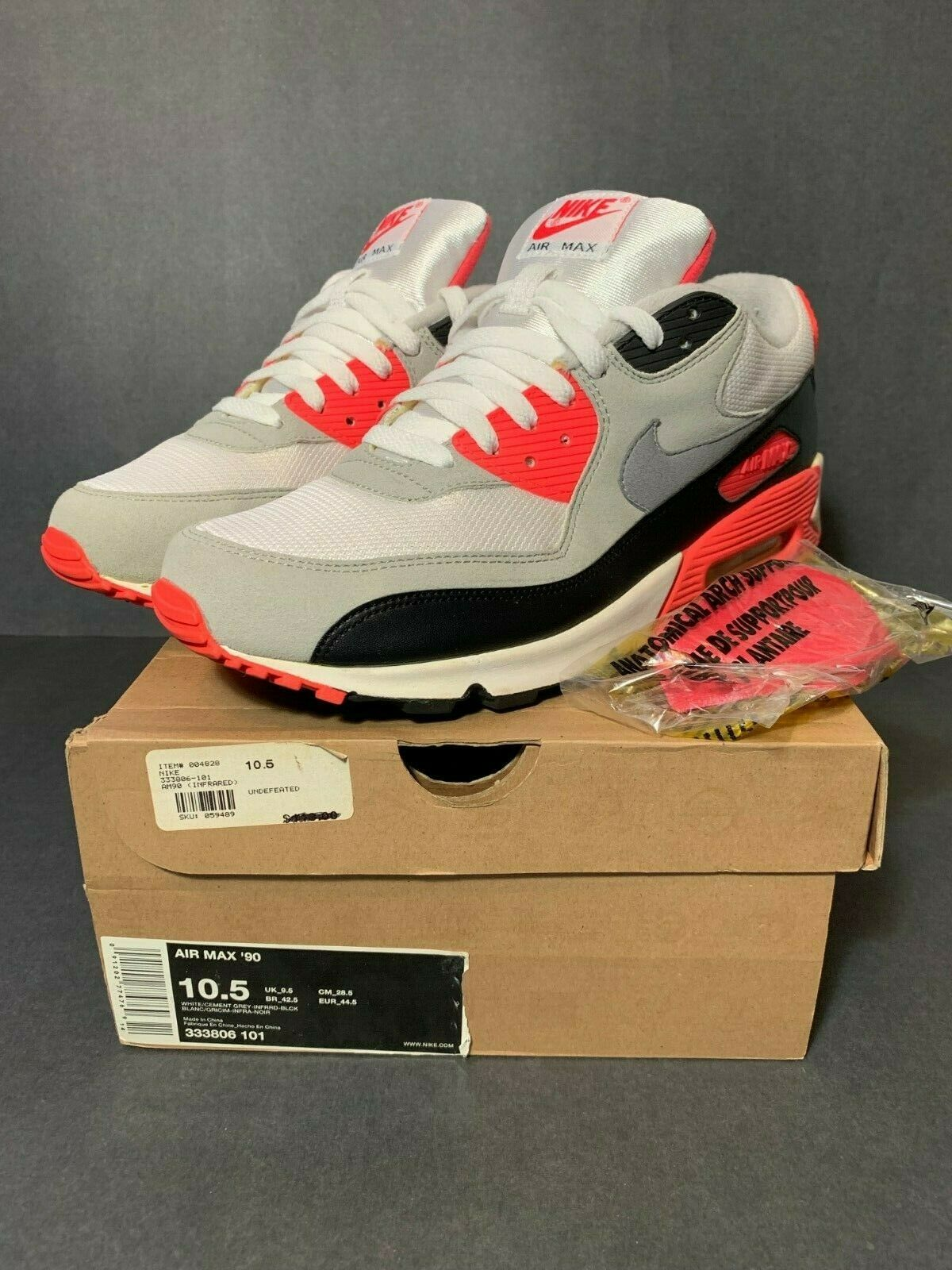 2008 NIKE AIR MAX 90 INFRARED SIZE 10.5 LASER HUF QS OG UNDEFEATED KID ATMOS 10
