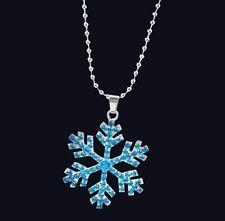 Halskette mit Schneeflocke Blau Kette Anhänger Strass Farbe Silber NEU 1262