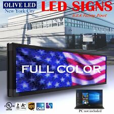 Olive Led Sign Full Color 19x85 Programmable Scrolling Message Outdoor Display