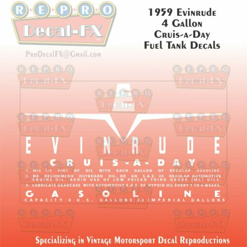 1959 Evinrude 4 Gallon US Cruise-A-Day Fuel Tank Decals Reproduction 2Pc Vinyl