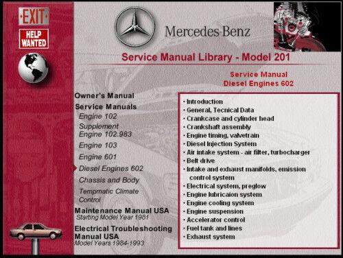 MERCEDES CHASSIS 201 CD SERVICE  MANUAL 190E,190D 190E 16V COSWORTH ALL MODELS