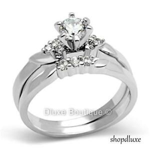 1-15-Ct-Round-Cut-Stainless-Steel-CZ-Engagement-Wedding-Ring-Set-Women-039-s-Sz-5-11