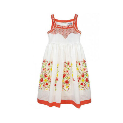 Domino Girl/'s 100/% cotton Floral Print Embroidered Bodice Summer Dress 3 to 11 y