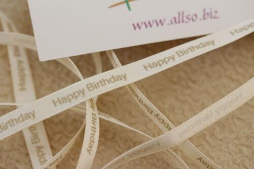 Beautiful QUALITY 6mm Ivory /& Gold Club Green Happy Birthday RIBBON
