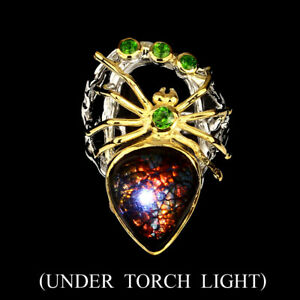 Handmade-Real-Hot-Red-Ammolite-Fossil-5-2-ct-Diopside-925-Silver-Spider-Ring-8-5
