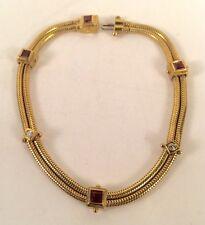 SeidenGang Pink Sapphire and Diamond 18K Gold Two Strand Bracelet 15.2 Grams