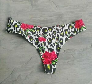 Mono Animal//Floral Print Urban Outfitters Nellie Laser Cut Thong Medium RRP £6