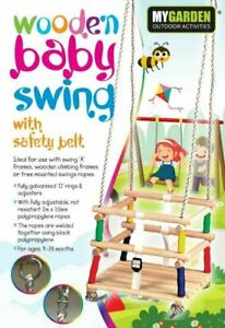 Wooden-Baby-Swing-Seat-Chair-Toddler-climbing-Frame-Summer-Playground-Bouncer