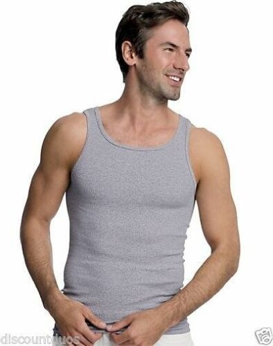2XL 4 Hanes Mens Assorted Colors A-Shirt Tank Top Ribbed Undershirt  Size S