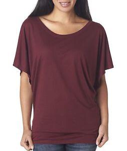 Bella-Canvas-Women-039-s-Flowy-Draped-Sleeve-Dolman-Short-Sleeve-T-Shirt-B8821