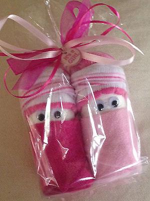 Swaddle Girl DIAPER BABIES in Cellophane Gift Bag, Baby Shower, Washcloths Socks