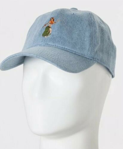 Blue One Size//Adjustable NEW Goodfellow /& Co Men/'s Hula Girl Baseball Hat