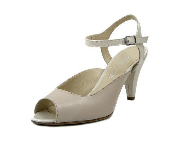 Sandali mujer Eleganti Pelle Beige Cinturino caviglia Tacco Medio Made in