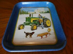 """John Deere Tray """"Sleigh Ride With Daddy"""" By R.L. Crouse. Picture of a Model 730."""