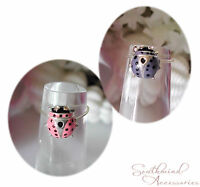Ladybug Toe Ring On A Stretch Illusion Band Your Choice Pink Or Blue