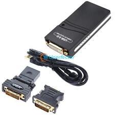 USB 2.0 UGA to DVI VGA Multi Display Dual Monitor Convert Graphic Adapter Cable
