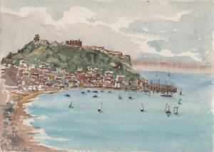 SCARBOROUGH-HARBOUR-YORKSHIRE-Small-Victorian-Watercolour-Painting-c1890