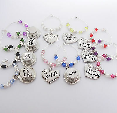 Heart & Top Hats Wedding WINE GLASS Charms,favours,table,gifts,bride,groom,party