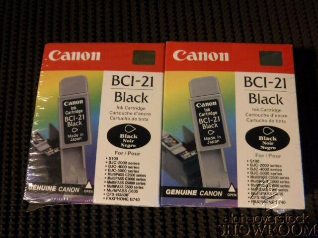 2 New Sealed Box Genuine OEM Canon BCI-21 Black Inkjet Cart. 0954A003 Multi-Pack