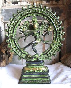 SHIVA-NATRAJA-Statue-Gott-des-Tanzes-Messing-Hinduismus-H-45cm-Natraj-Shiwa-siva