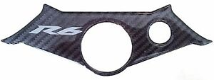 Carbon-Effect-3D-Resin-Domed-Top-Yoke-Trim-For-Yamaha-YZF-R6-R6S-2003-2004